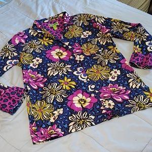 Vera Bradley African Violet Long Sleeved Blouse M